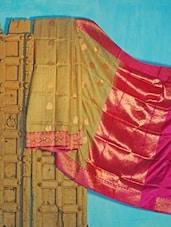 Beige And Pink Tussar Silk Saree - KAASI