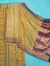 Beige And Blue Tussar Silk Saree - KAASI