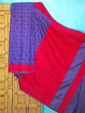 Blue And Pink Silk Saree - KAASI