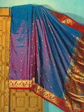 Blue And Purple Benarsi Silk Saree - KAASI