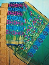 Blue, Green And Pink Benarsi Net Saree - KAASI