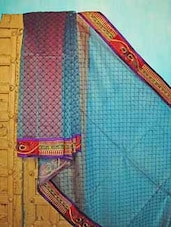 Blue And Red Benarsi Net Saree - KAASI