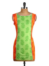 Green And Orange Printed Cut Sleeved Kurti - Yepme