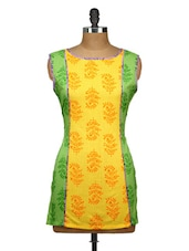 Yellow And Green Printed Cut Sleeved Kurti - Yepme