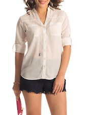 Solid White Roll-up Sleeved Shirt - PrettySecrets