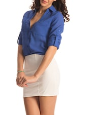 Solid Blue Roll-up Sleeved Shirt - PrettySecrets