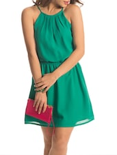 Green Halter Neck Flared Dress - PrettySecrets