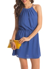 Blue Halter Neck Flared Dress - PrettySecrets