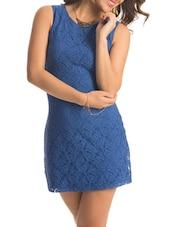 Blue Back Cut Out Lacey Dress - PrettySecrets