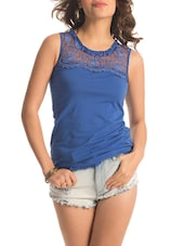 Blue Floral Lace Top - PrettySecrets