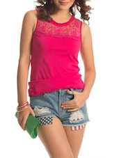 Bright Pink Floral Lace Top - PrettySecrets