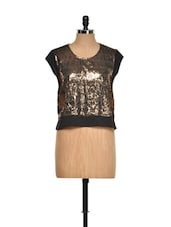 Gold Sequined Party Wear Top - I AM FOR YOU
