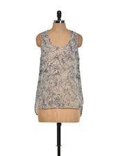 Printed Beige And Grey Sleeveless Top - I AM FOR YOU