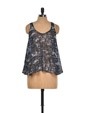 Printed Black Sleeveless Top - I AM FOR YOU