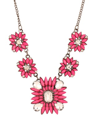 Floral crystal and bead necklace