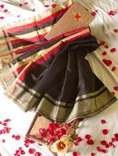 Black Saree With Striped Aanchal - Cotton Koleksi