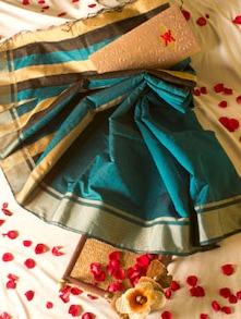 Turquoise Blue Saree With Striped Aanchal - Cotton Koleksi