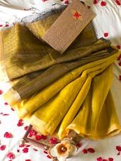 Bright Yellow Saree With Sequins - Cotton Koleksi