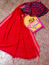Bright Red Saree With Striped Aanchal - Cotton Koleksi