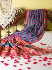 Purple And Teal Box Weave Design Saree - Cotton Koleksi