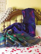 Royal Blue Saree With Colourful Aanchal - Cotton Koleksi