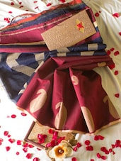 Maroon And Blue Handloom Saree - Cotton Koleksi
