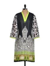 Black, White And Green Printed Kurta - Kaccha Taanka