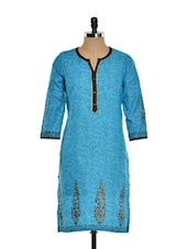 Blue Printed Full-sleeved Kurta - Kaccha Taanka