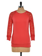 Red Top With Lace Raglan Sleeves - Femella