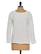 White Top With Lace Sleeve Insert - Femella
