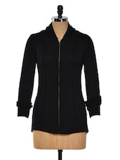 Black Zip Up Sweatshirt - Femella