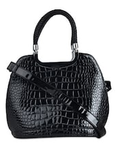 Black Glossy Finish Textured Tote Bag - K22