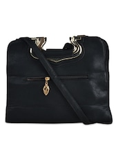 Black Textured Tote Bag Cum Sling Bag - K22