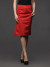 Solid Red Skirt With Side Slit - Kaaryah