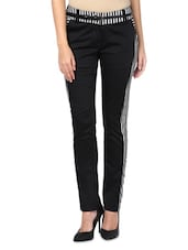 Black Cotton Satin And Lycra Striped Slim Fit Trousers - By