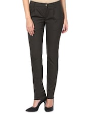 Black Polyviscose And Lycra  Tapered Fit Trousers - By