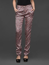 Red Floral Print Slim Fit Trousers - Kaaryah