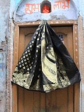 Bold Black Jacquard Saree - BANARASI STYLE