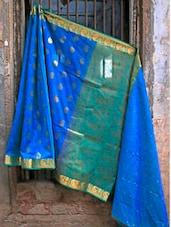 Blue Banarasi Cotton Saree - BANARASI STYLE