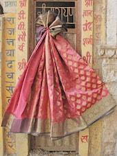 Pink And Gold Jacquard Saree - BANARASI STYLE