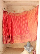 Onion Pink Silk Saree - BANARASI STYLE