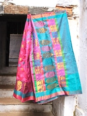 Bright Pink And Blue Art Silk Banarasi Saree - BANARASI STYLE