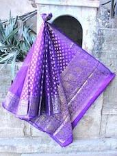 Blue And Gold Rose Patterned Banarasi Saree - BANARASI STYLE