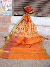 Orange And Gold Banarasi Saree - BANARASI STYLE - 924798