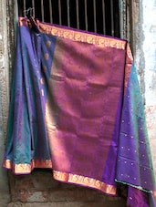 Vibrant Blue And Purple Banarasi Saree - BANARASI STYLE