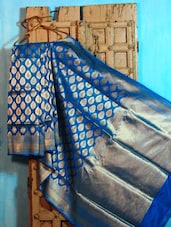 Blue And Gold Pure Silk Banarasi Saree - BANARASI STYLE