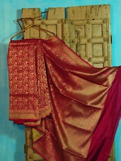 Pink And Gold Paisley Pure Silk Banarasi Saree - BANARASI STYLE