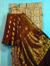 Brown And Gold Benarasi Cotton Saree - BANARASI STYLE