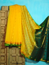 Yellow And Green Benarasi Cotton Saree - BANARASI STYLE