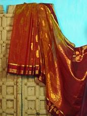 Orange And Blue Benarasi Cotton Saree - BANARASI STYLE